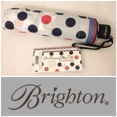 "NWT Brighton Polka Dot Umbrella It's rainy polka dotsNew Brighton adorable Red, Navy Polka Dot compact Umbrella. Comes with matching slip case cover. Push button opening on a telescopic shaft, 21"" extended, 10.5"" closed. Velcro wrap around strap Brighton Accessories Umbrellas"