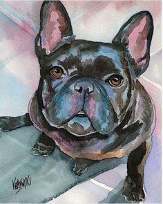 French Bulldog 8x10 signed art PRINT from watercolor painting RJK Watercolor Animals, Watercolor Paper, Watercolor Paintings, French Bulldog Art, French Bulldogs, Sully, Bulldog Francés, Art Aquarelle, Dog Paintings