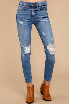 6f270a74c1b Sassy Ripped Medium Wash Jeans - Distressed Denim Jeans - Pants - $52 – Red  Dress