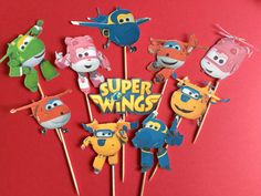 Super Wings cupcake toppers airplane toppers by Fairfable on Etsy