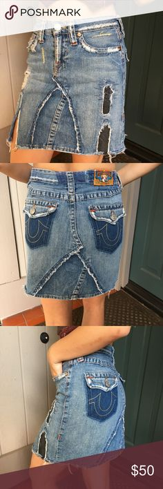 True Religion Distressed Denim High Waisted Skirt True Religion Distressed Skirt Size 28 Adorable high waisted denim skirt with distressed/patchwork details. Great fit and wonderful quality!  Great condition! True Religion Skirts