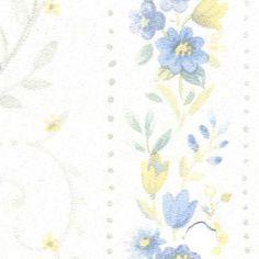 Blue Floral Stripe Prepasted Wallpaper