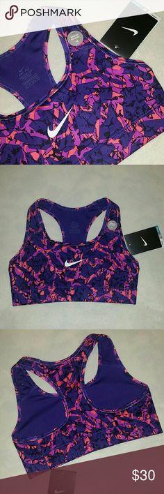 NIKE DRI-FIT STAY COOL SPORTS BRA PURPLE Nike Dri-FIT stay cool sports bra with medium support.  Purple, orange, and black.   Size XS New with tags Nike Intimates & Sleepwear Bras
