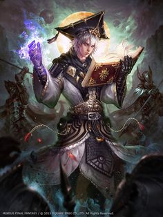 Mobius Final Fantasy -- Scholar by Dopaprime Wol as the scholar sorcerer wizard warlock battle bard armor clothes clothing fashion player character npc | Create your own roleplaying game material w/ RPG Bard: www.rpgbard.com | Writing inspiration for Dungeons and Dragons DND D&D Pathfinder PFRPG Warhammer 40k Star Wars Shadowrun Call of Cthulhu Lord of the Rings LoTR + d20 fantasy science fiction scifi horror design | Not Trusty Sword art: click artwork for source