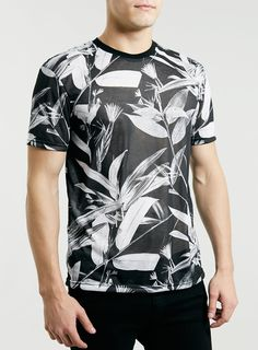 modern unisex TSHIRT with black and white floral print