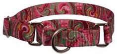 Large Martingale Pink Paisley Patterened Dog Collar #dogs