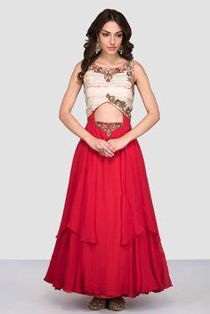 PROSPERA Red And Beige Cut-Out Gown #flyrobe #wedding #weddingoutfit #flyrobeweddings #receptionoutfits #designerwear #designergown #receptiongown