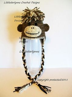 Brown Monkey Hat with Earflaps - Crochet Monkey Hat -  Monkey Beanie on Etsy, $30.00