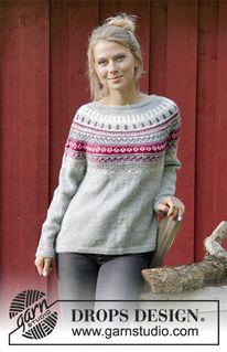 Sweter rozpinany z zaokrąglonym karczkiem, żakardem norweskim, w kształcie trapezu, przerabiany od góry do dołu. Od S do XXXL. Z włóczki DROPS Karisma.