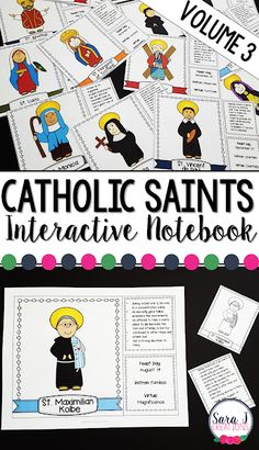 Catholic Saints facts for kids that can be used as an interactive notebook flip book or flashcards. Religion Activities, Teaching Religion, Teaching Activities, Teaching Kindergarten, Church Activities, Teaching Ideas, Catholic Saints For Kids, Catholic Religious Education, Catholic Religion