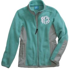 Monogrammed Evolux Fleece Jacket ❤ liked on Polyvore featuring outerwear, jackets, shirts, sweaters, teal jacket, monogram jackets, full zip fleece jacket, fleece jacket and full zip jacket