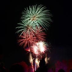 Photography of Green and Red Fire Works Display  Free Stock Photo