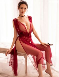 a46071a373f UK Sexy Ladies Long Lace Nighty Dress Lingerie See-through Mesh Bodysuit  Fancy. adroin XXo · Hot Women s Nightwear
