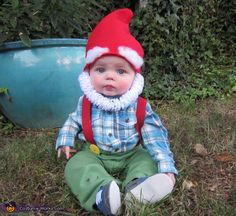 Shannin: My 8 month old son Reznor wearing his garden gnome costume.I made the hat from felt and the beard from pipe cleaners.
