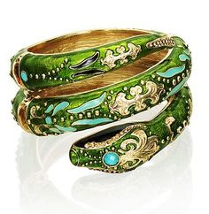 Jewelry Pagan Wicca Witch:  Green snake #bracelet.