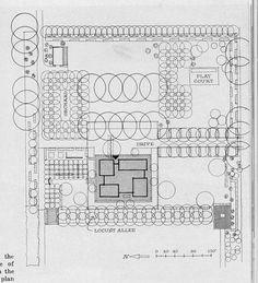 Landscape plan for the Miller house, Columbus, Indiana, designed by Eero Saarinen & Assoc. Landscape Plans, House Landscape, Garden Landscape Design, Architecture Plan, Landscape Architecture, Columbus Indiana, Eero Saarinen, Miller Homes, Site Plans