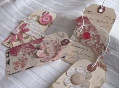 Vintage Tags Altered Tags Gift Tags Handmade Tags by Sunsetblondie, $8.00