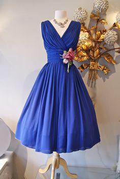 violet blue chiffon dress