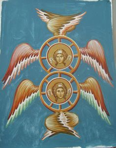 Byzantine Icon of Seraphim Order Of Angels, Angels Among Us, Angels And Demons, Byzantine Icons, Byzantine Art, Religious Images, Religious Art, Christian Mysticism, Seraph Angel