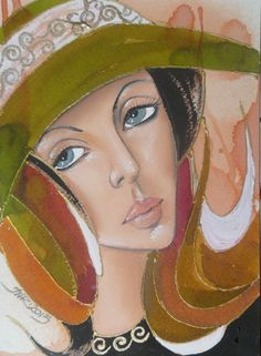 Woman in a hat - watercolor and pastel on paper Canson, 12,5x18cm