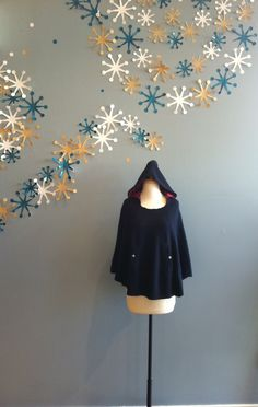 Navy Sweater Cape with Red Stripe Hood by Freeway $72.00