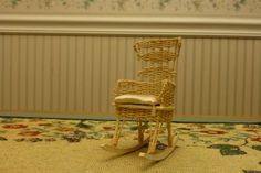 Dollhouse Miniatures Wicker Rocking Chair **Artist Signed** 1:12 Scale signed A Stephens 1980