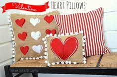 #Valentine #burlap felt and pom pom #pillows