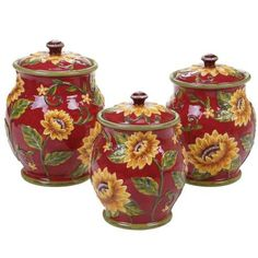 Brighten your table setting with a colorful look with the Sunset Sunflower Canister Set by Certified International. Featuring magnificent sunflower blooms set against a rich red background, this elegant set adds a wow factor to any meal. Ceramic Canister Set, Kitchen Canister Sets, Storage Canisters, Glass Canisters, Top 10 Christmas Gifts, Thoughtful Christmas Gifts, Sunflower Design, Sunflower Pattern, Sunflower Art