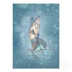 Beautiful Mother and Baby Mermaid Baby Shower Custom Invitations