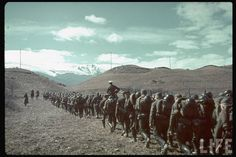 German soldiers marching into the vast Caucasus region.