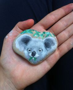 Easy diy project for father's day (or mother's day): Koala face painted on a koala-shaped rock/pebble