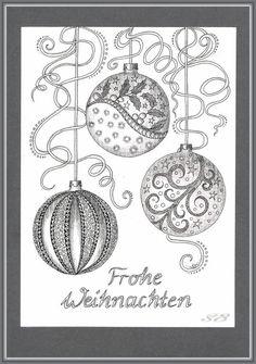 Die letzten Weihnachtskarten sind fertig. Weihnachtskugeln sollten es diesesmal werden. Im Farbstifteforum haben wir eine Weihnachtskartentauschaktion durchgeführt ähnlich wie bei einem ATC-Tausch....