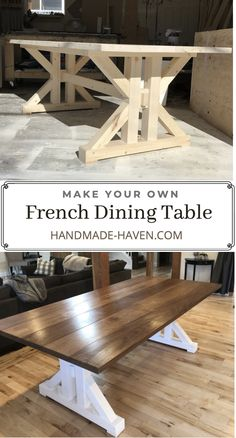 Build this Farmhouse Dining Table using step by step instructions. Build plans will help you create a dining table for your home kitchen. French Dining Tables, Farmhouse Dining Room Table, Dinning Room Tables, Diy Dining Table, Farmhouse Furniture, Rustic Table, Diy Kitchen Tables, Woodworking Kitchen Table, Woodworking Plans