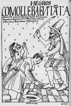 """Title of drawing, translated: """"Good blacks endure the abuses of their master with patience and the love of Christ""""; a man and woman, both kneeling, being beaten with a cudgel  by a Spaniard. Felipe Guaman Poma de Ayala"""