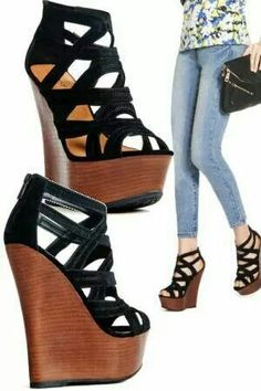 Black with wooden wedge