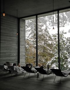Therne Vals, a modern thermal spa in the Swiss Alps designed by architect Peter Zumthor.