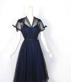 Vintage 1940s Dress / Navy Organdy Dress / 40s Dress / M L. $150.00, via Etsy.