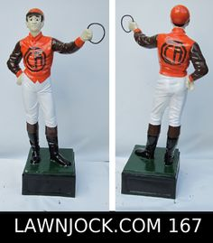 The traditional lawn jockey statue is taking back America's boring suburban neighborhoods one yard at a time. Your lawn is next! Want an REAL METAL jock professionally painted using 2 coats of high gloss enamel like this one shipped directly to your mansion in about 3 weeks? Visit lawnjock.com for a price quote today and reference custom example #167.