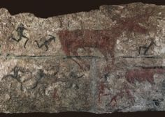 [Deer hunt, detail of a wall painting from level lll, Catal Hoyuk, Turkey, ca. 8000 BCE.  This Neolithic painter depicted human figures as a composite of frontal and profile views, the most descriptive picture of the shape of the human body. this format would become the rule of milennia.