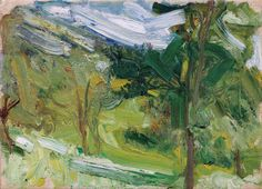 """Richard Gerstl's """"Landscape Study (Traunsee),"""" September 1907. Most of Gerstl's best works were painted during two summers spent with the Schoenberg Circle on the Traunsee, a lake several hours from Vienna. They startlingly presage the uninhibited brushwork of generations to come: Chaim Soutine,(1893-1943), Willem de Kooning (1904-1997) and Frank Auerbach (born 1931)."""