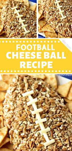 Football Cheese Ball Recipe - Football Cheese Ball Recipe makes a fun snack! This easy Super Bowl appetizer is shaped liked a foo - Football Cheese Ball Recipe - Football Cheese Ball Recipe makes a fun snack! This easy Super Bowl Party, Easy Party Food, Party Food And Drinks, Fun Food, Super Bowl Essen, Easy Appetizer Recipes, Dinner Recipes, Party Appetizers, Easy Recipes