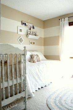 beige stripe wall bedroom - Google Search