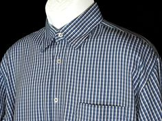 Bugatchi Uomo Men's Blue White Striped Button Front Shirt Size M Medium EUC #BugatchiUomo #ButtonFront