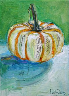 Small Wonders Daily Paintings by Polly Jones: Circus Pumpkin original mixed media painting by - Art interests Mixed Media Painting, Mixed Media Canvas, Mixed Media Collage, Collage Art, Newspaper Collage, Painting Collage, Painting Abstract, Acrylic Paintings, Pumpkin Art
