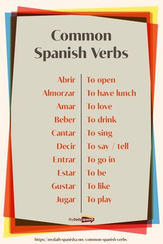 learning spanish 200 Most Common Spanish Verbs Useful Spanish Phrases, Spanish Help, Spanish Lessons For Kids, Learn To Speak Spanish, Spanish Basics, Spanish Teaching Resources, Spanish English, Spanish Language Learning, Learn A New Language