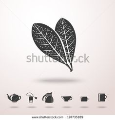 Tea leafs detailed vector monochrome icon in the air with shadow. With set of tea icons - tea pot, tea bag, kettle, cups and mugs. by Tashal...