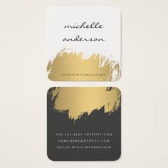 faux gold brushed white gray square business card - Fashion Designer Business Card