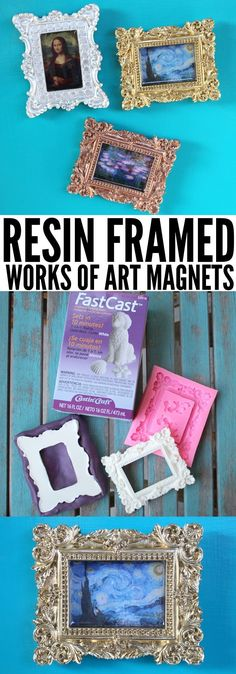 Make mini works of art in ornate frames using resin! Create a mini museum with ornate frames and works of art using resin! These magnets are perfect for the fridge, school locker or miniature dollhouse! Miniture Dollhouse, Dollhouse Miniatures, Diy Resin Crafts, Diy Arts And Crafts, Frame Crafts, Diy Frame, Diy Magnets, Easy Art Projects, Project Ideas