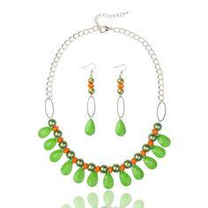Acryl-Schmuck-Sets, Halsketten und Ohrringe, mit Glas-Perlen, Eisenketten, Legierung Karabinerverschlüsse und Eisen Ohrhaken, Platinmetallfarbe, Koralle