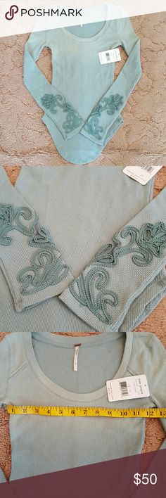Free people newbie masquerade cuff NWT Ombre field green thermal , really cute! Check measurements , cotton polyester spandex blend. Free People Tops